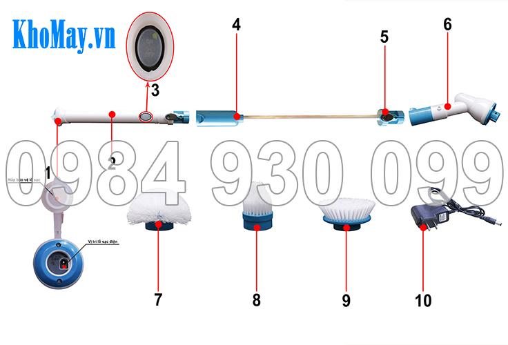 Các bộ phận chổi cọ nhà vệ sinh đa năng 3A