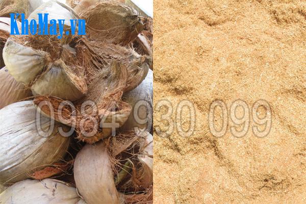 Vỏ dừa khô trước và sau khi nghiền bằng máy băm vỏ dừa, gỗ tạp, ván bóc 3A22Kw