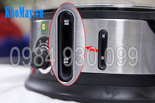 Vạch MIN - MAX để quan sát lượng nước trong nồi hấp điện 3 tầng