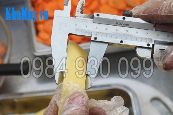 Máy thái rau củ quả 3A1,5Kw (có băng tải) điều chỉnh được kích cỡ sản phẩm đầu ra
