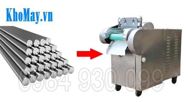 Máy thái rau củ quả 3A1,5Kw có băng tải sử dụng chất liệu chính là inox