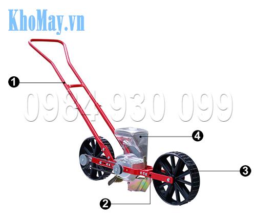 Cấu tạo của Dụng cụ gieo hạt một hàng kiểu xe đẩy 3A